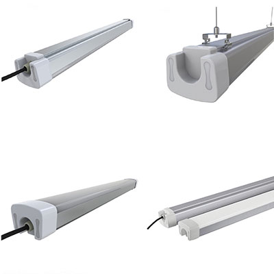 FSLP SERIES | LED TIGHT Vapor tight replacement. 2',4',5',6',8' lengths in Stock. 3' cord standard, 2400-12000 lumens.